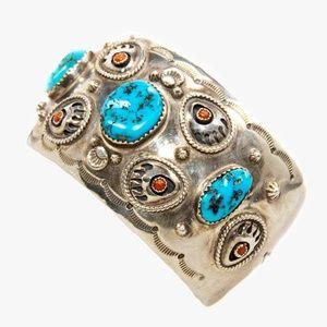 Raymond Delgarito Navajo Turquoise & Coral Cuff